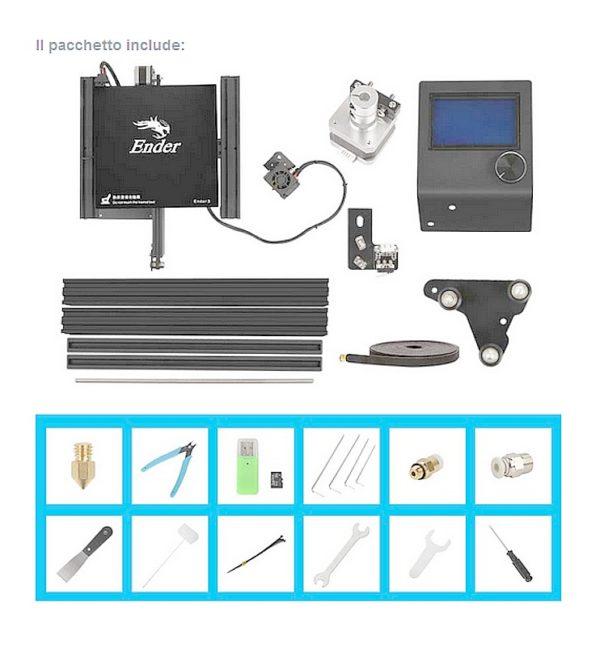 stampante-3d-creality-3d-ender-3 contenuto confezione