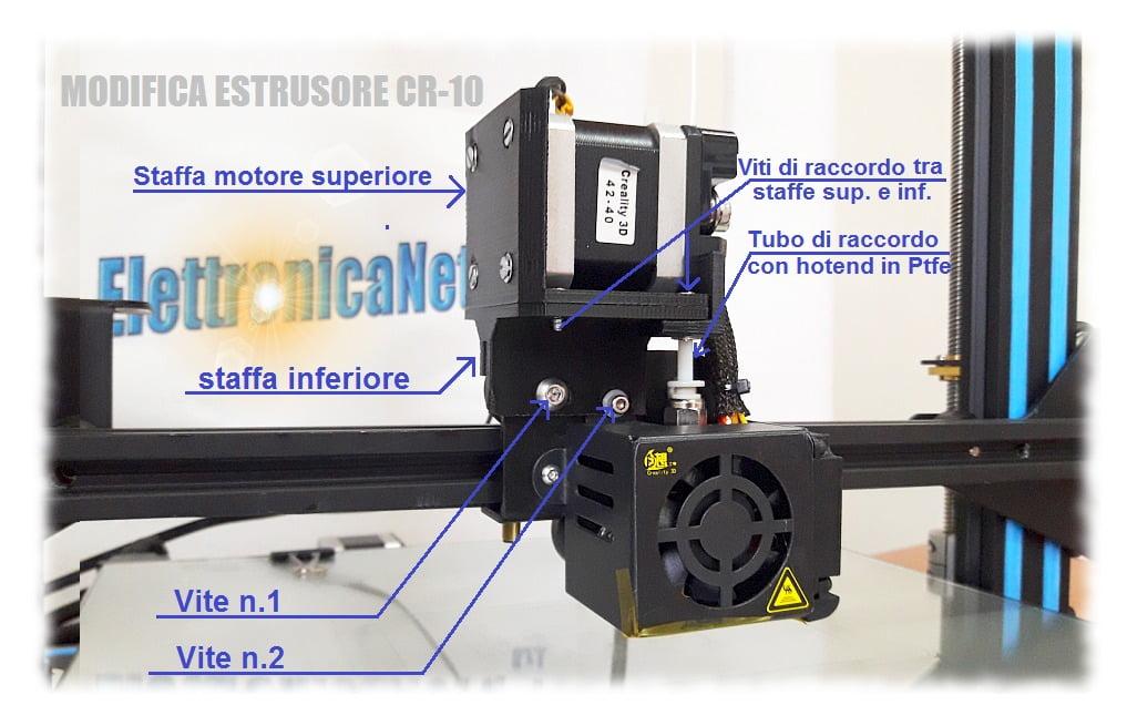 schema di assemblaggio modifica estrusore stampante 3d cr-10